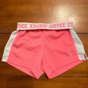 Justice pink mesh shorts